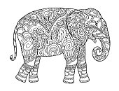 Drawing zentangle elephant, for coloring book for adult or other decorations
