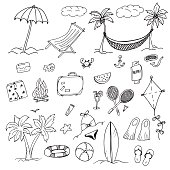 Drawings elements of leisure and beach