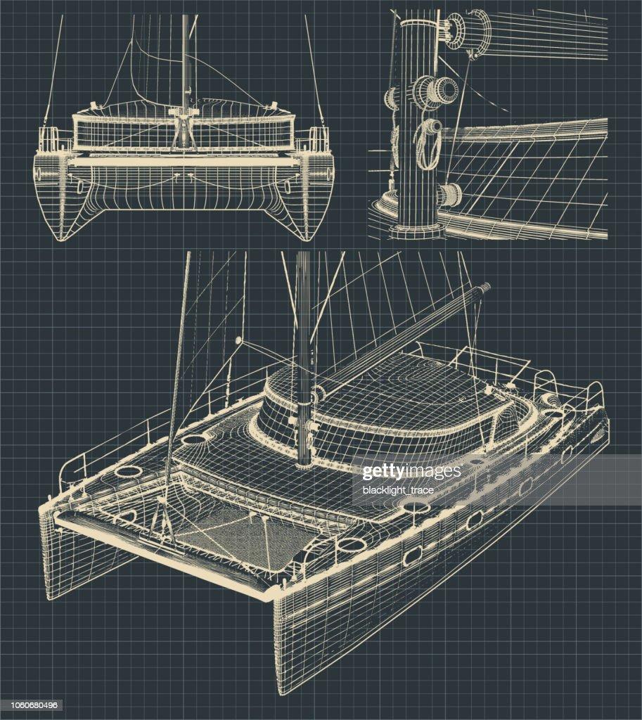Drawings of a modern catamaran