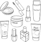 Drawings of cosmetic containers in black and white