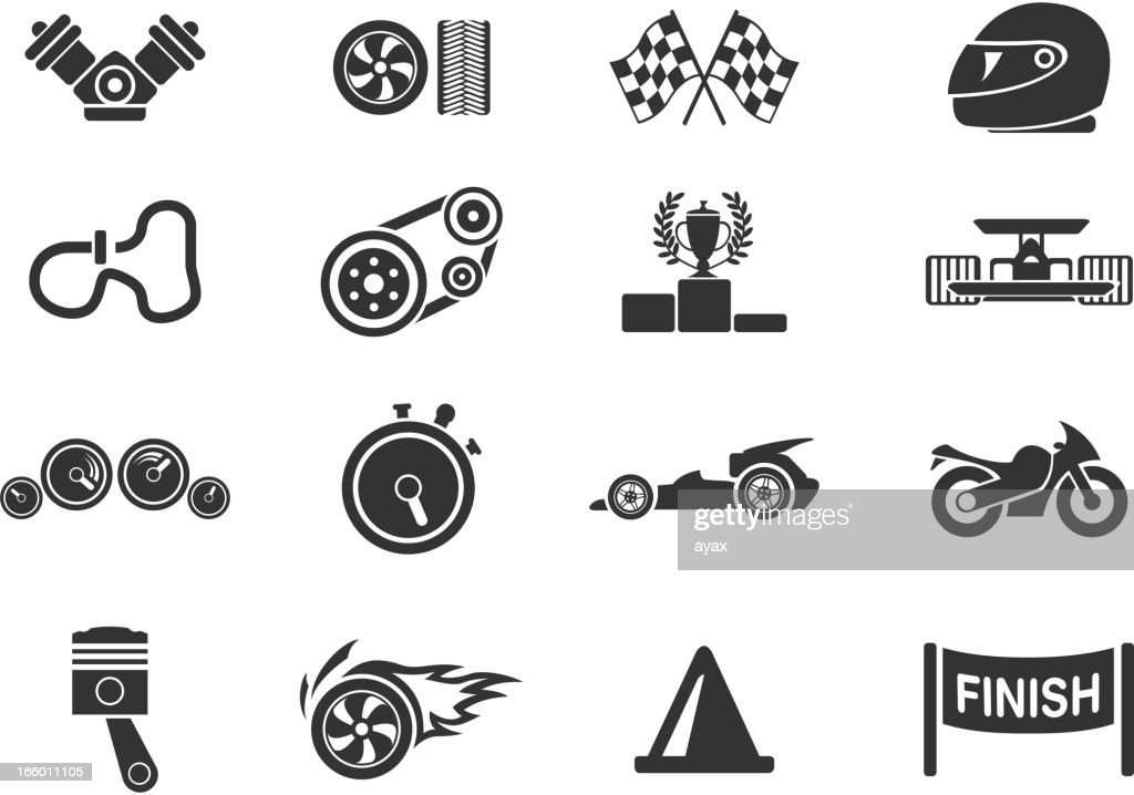 Drawings of minimalist racing icons in a blank background