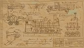 Drawings of old vehicles and mechanisms