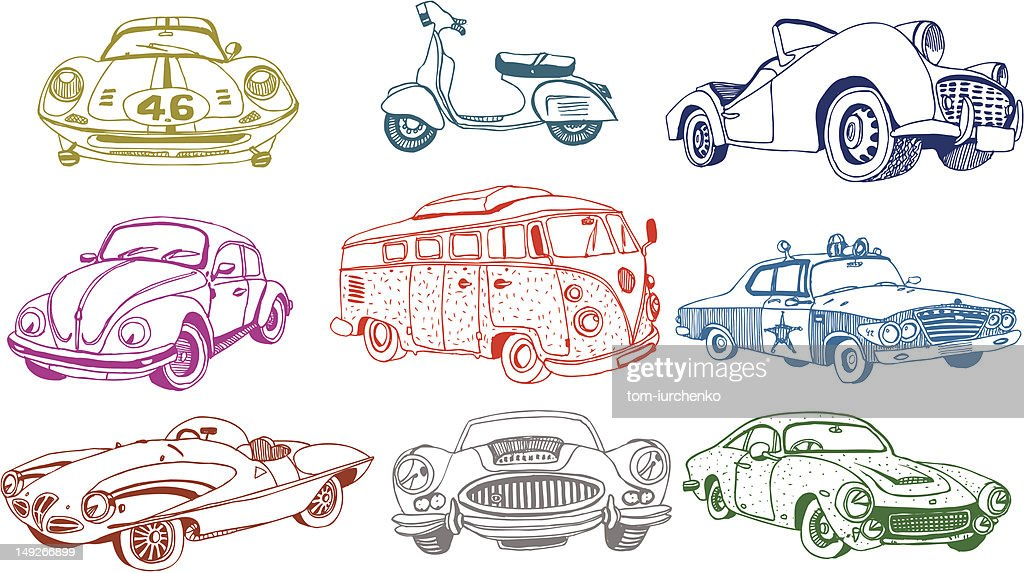 Drawings of various colored classic cars