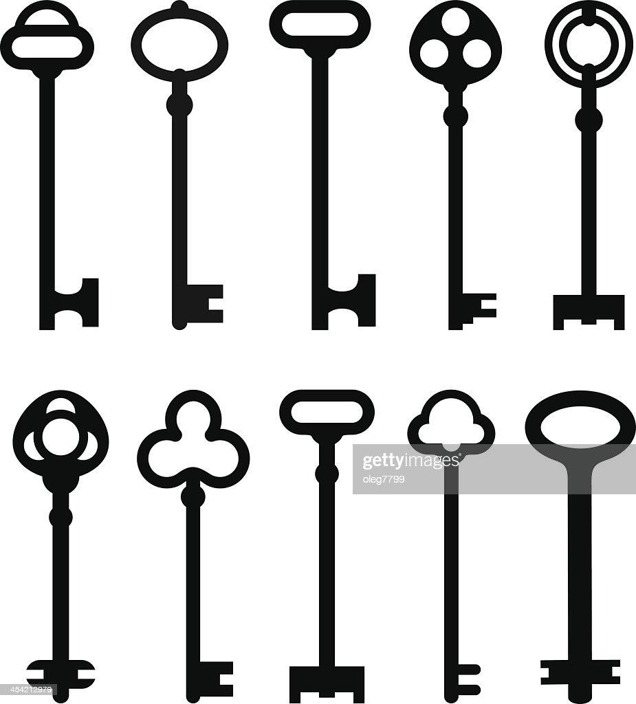 Drawings of various shapes of keys