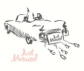 Drawn bride groom old fashioned car vector sketch