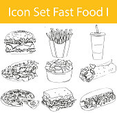 Drawn Doodle Lined Icon Set Fast Food I