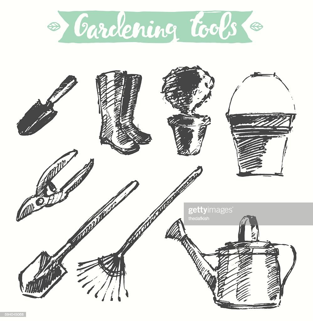 Drawn gardening tools vector illustration, sketch.