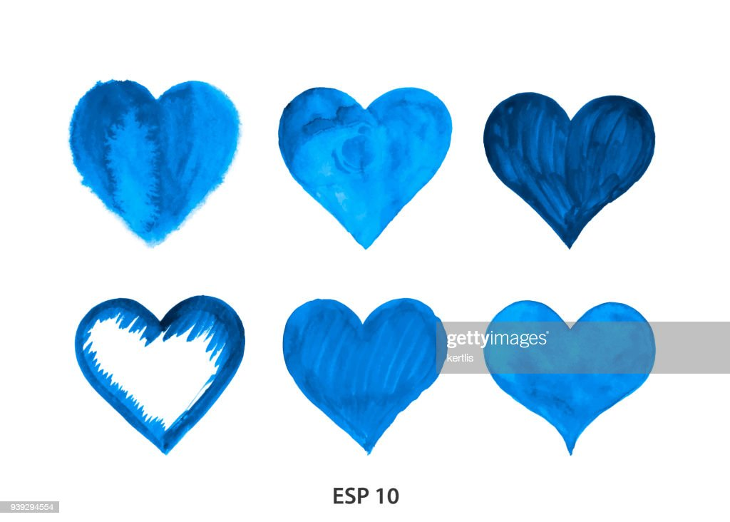 Drawn heart from watercolor blue : stock illustration