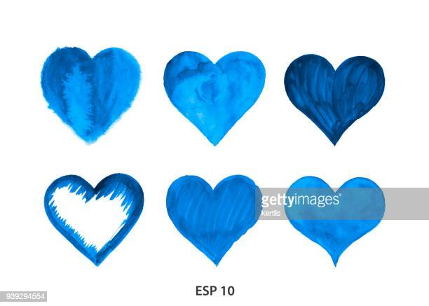 drawn heart from watercolor blue - heart shape stock illustrations