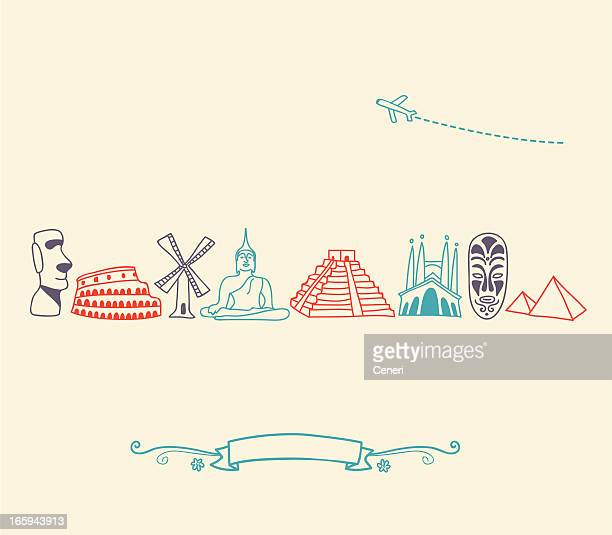 drawn international landmark and travel icons in colors - giza stock illustrations