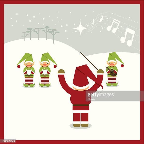 ilustraciones, imágenes clip art, dibujos animados e iconos de stock de villancicos de navidad santa claus - chuwy