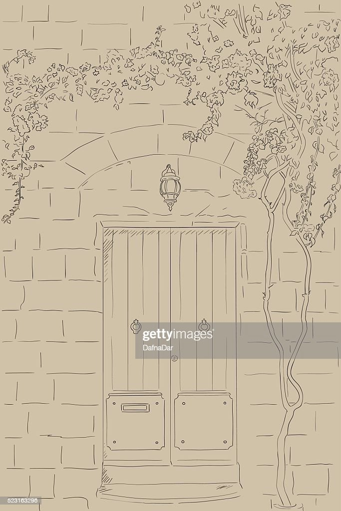 Drawn sketch door, lamp. Climbing tree on wall. Outline illustration