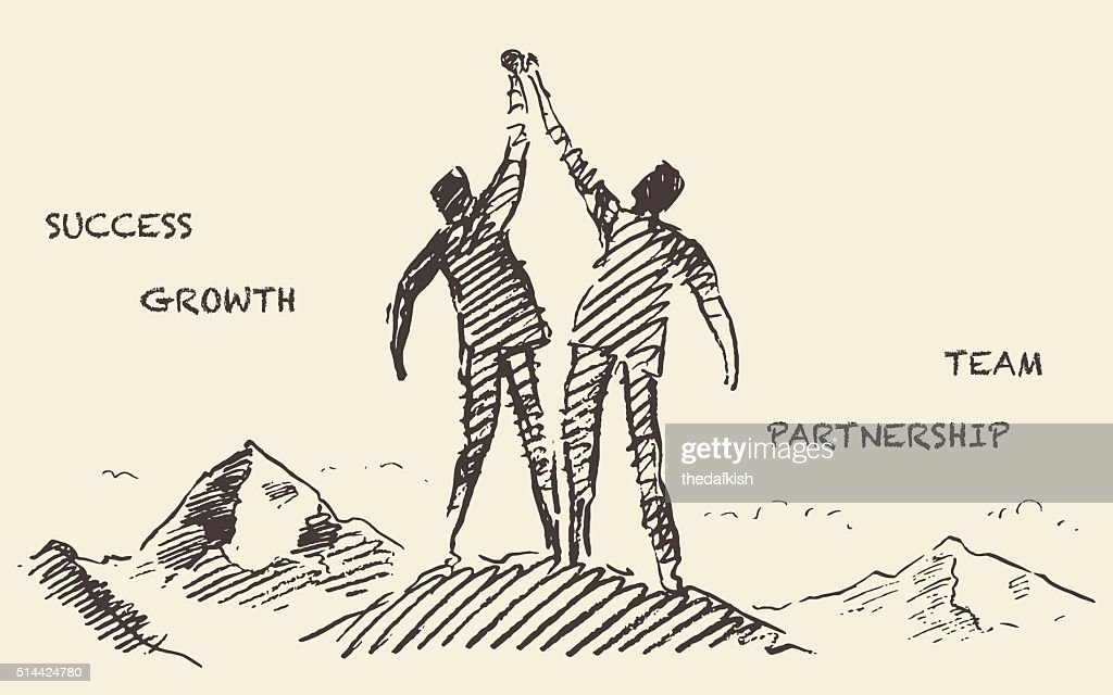 Drawn success teamwork partnership concept vector