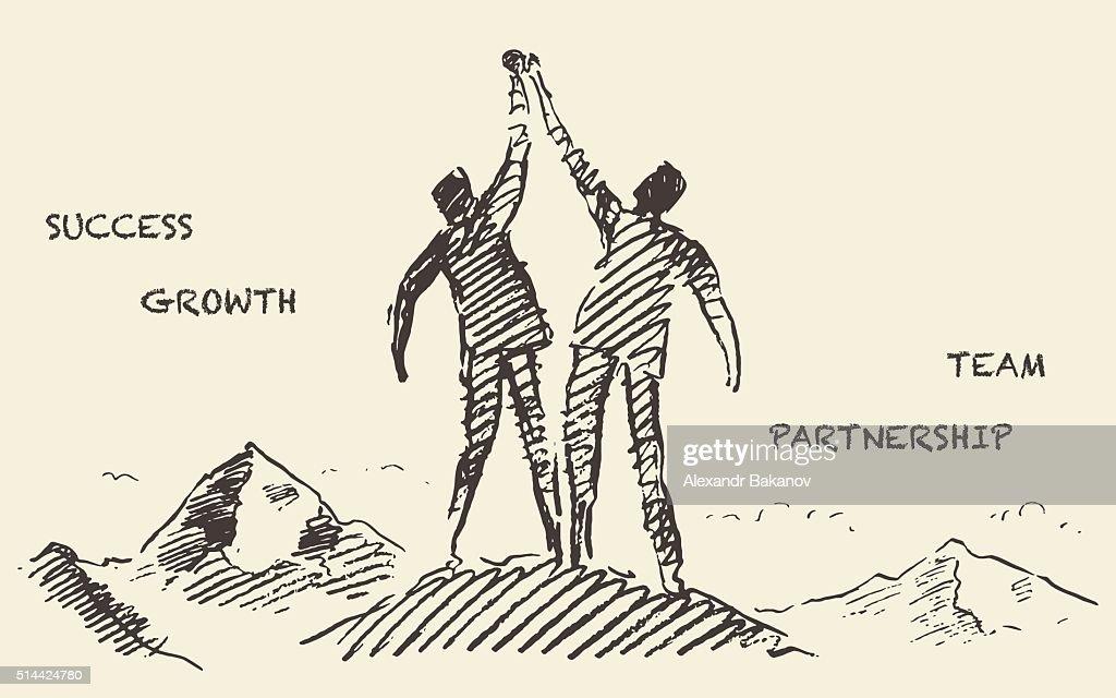 Drawn success teamwork partnership concept vector