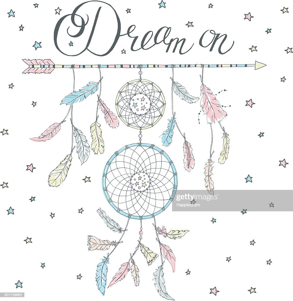Dream catcher on an arrow with calligraphy text Dream on
