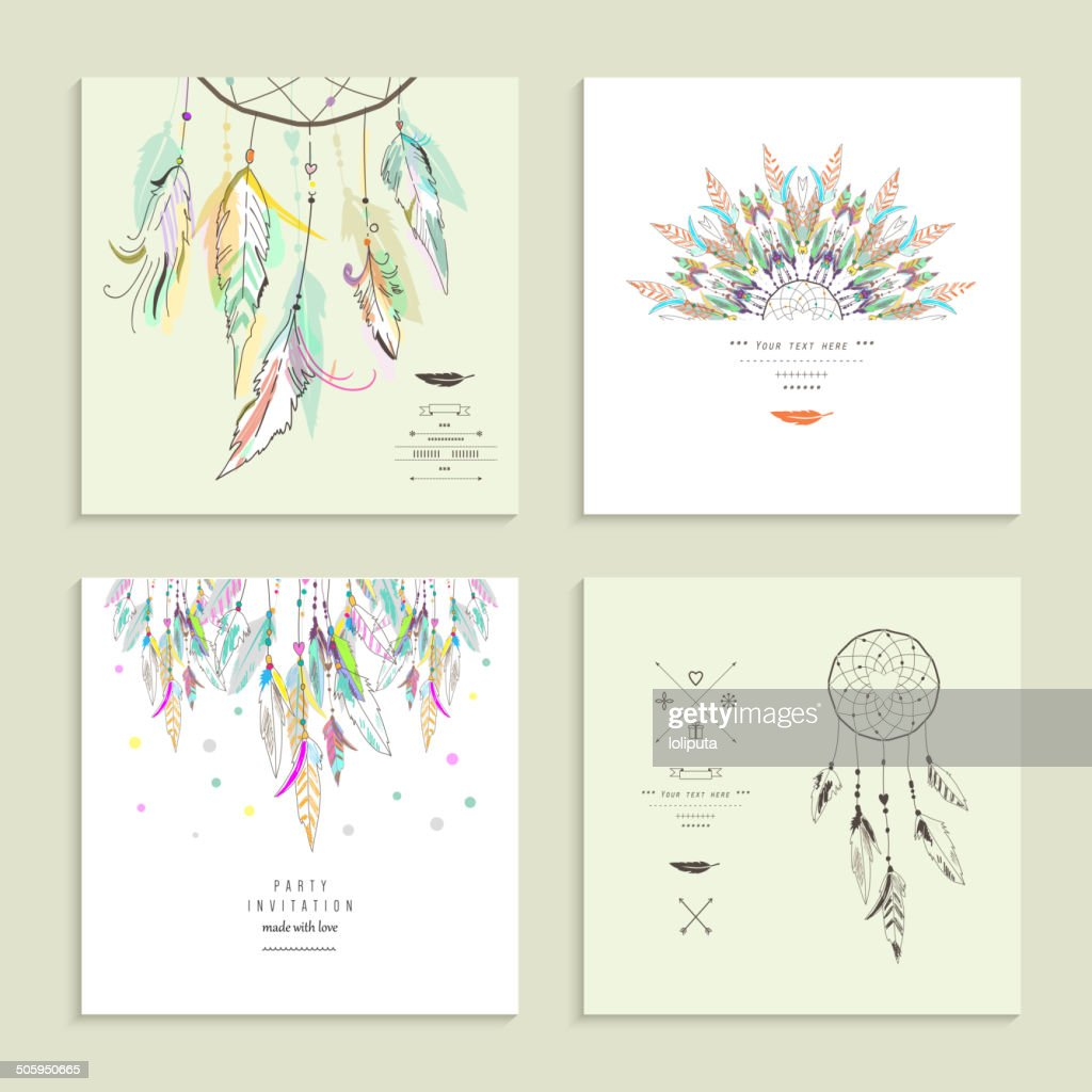 Dream  catcher. Set of four cards. Vector illustration.