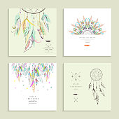 Dream  catcher. Set of four cards. Vector illustration.