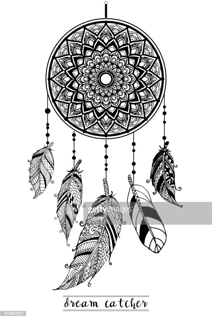 Dream Catcher with Arrows and Feathers Hand Drawn Style Vector, Native American Poster, Ethnic Isolated Design.