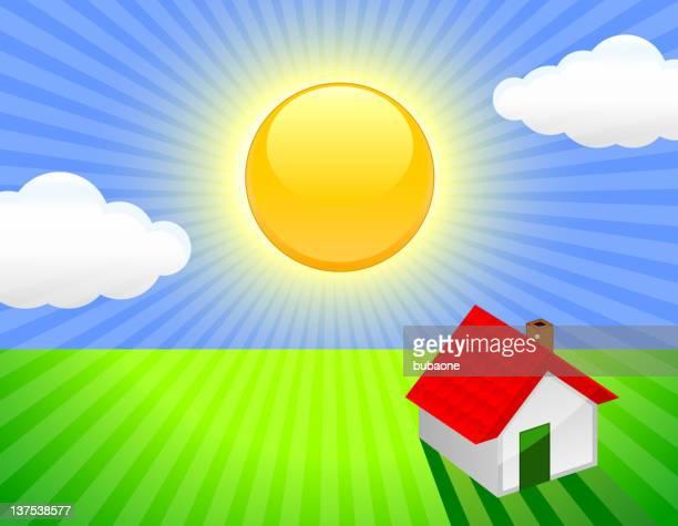 dream home on sunny sky background - solar flare stock illustrations, clip art, cartoons, & icons
