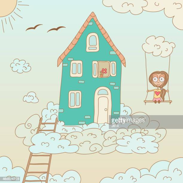 dream home - ethereal stock illustrations, clip art, cartoons, & icons