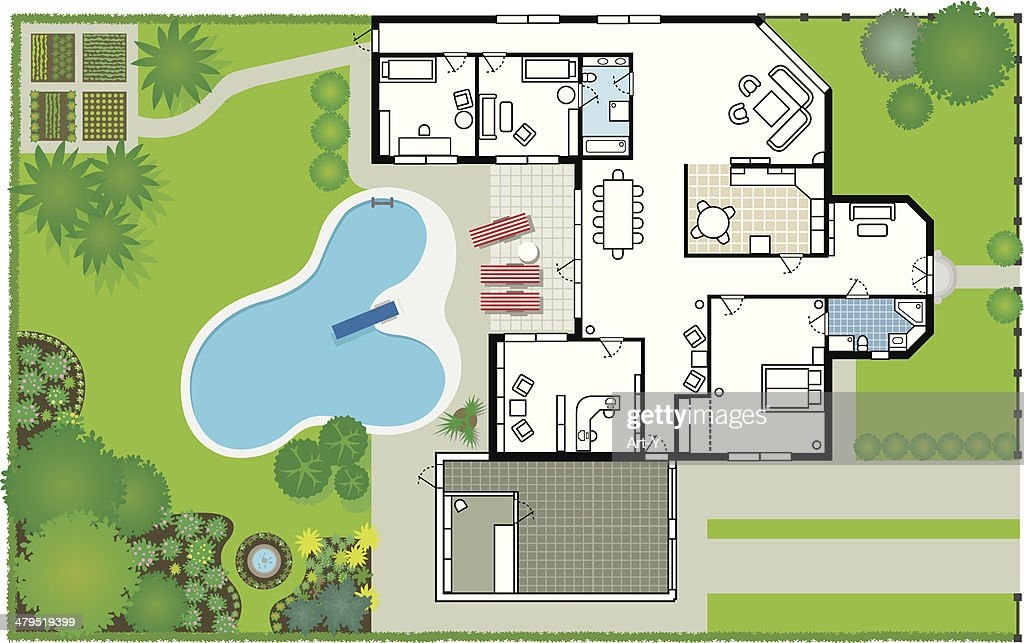 Dream house - blueprint (Vector & JPG) : stock illustration
