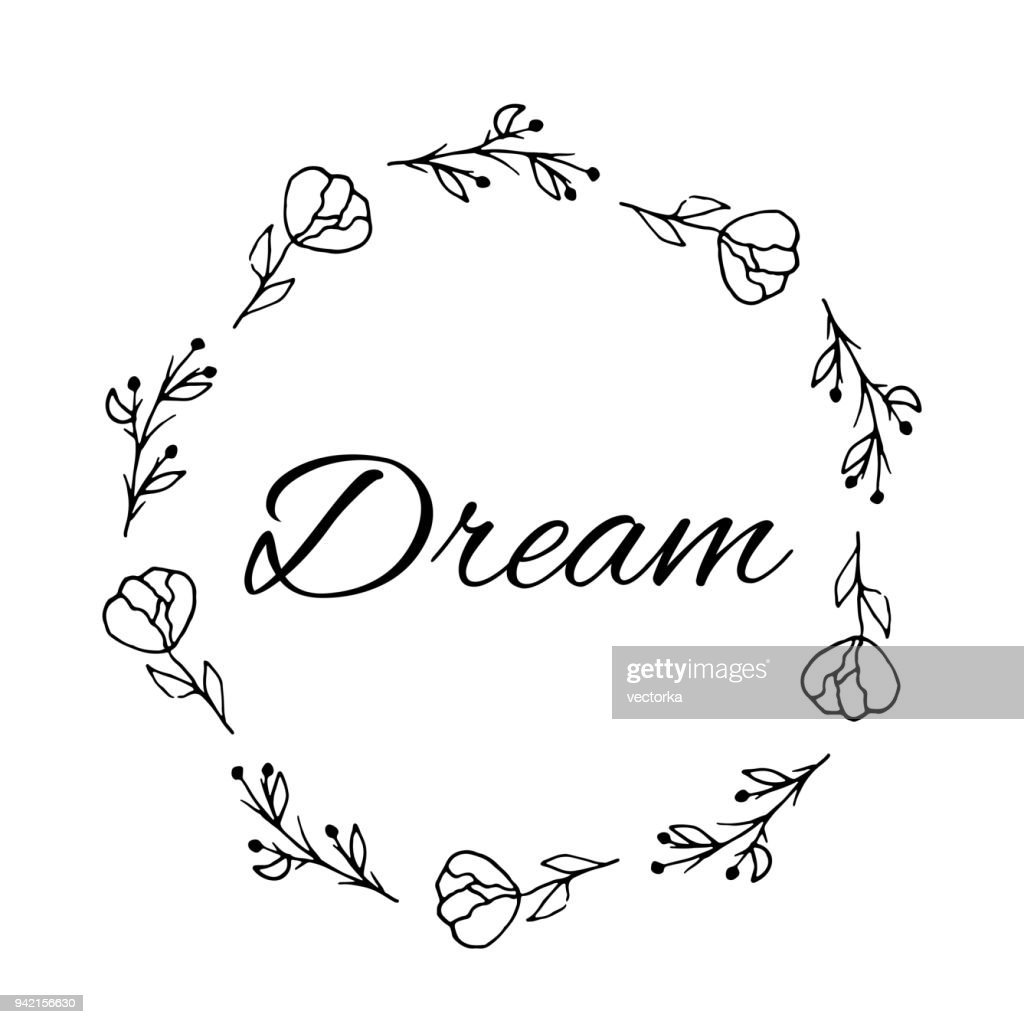 Dream Text Flower Wreath Hand Drawn Laurel Greeting Card Design For