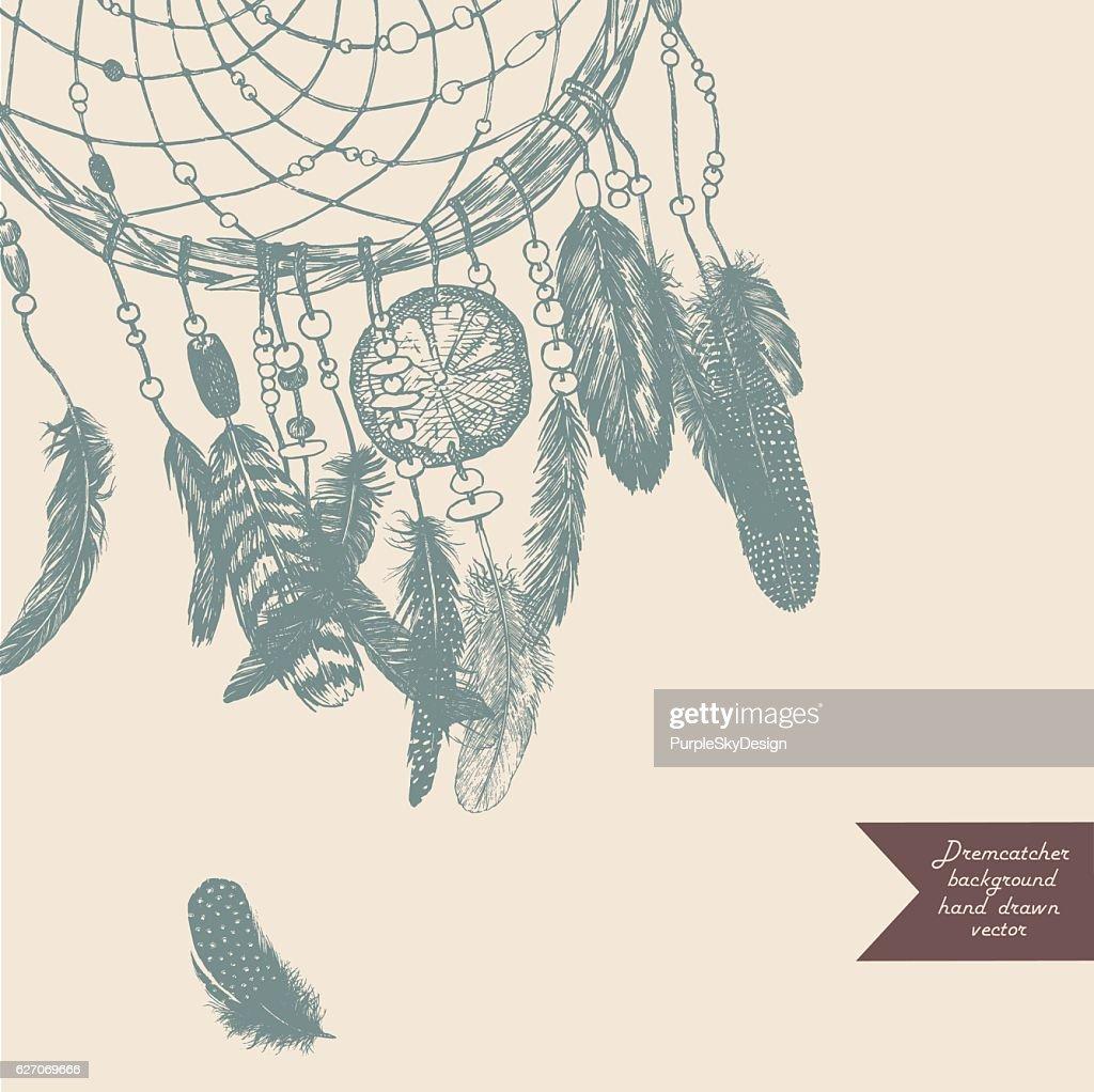 Dreamcatcher background. Hand drawn illustration. Vintage.