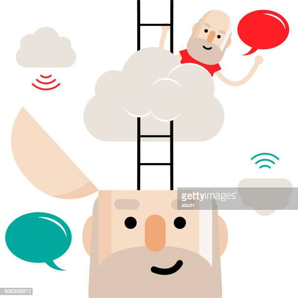Dreamer, Senior man with opened head and ladder, a small man climbing ladder up to the clouds. (Head in the cloud)