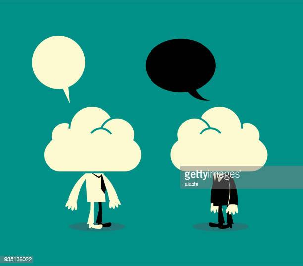 Dreamers, two business men with their heads in the clouds, communicating