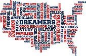 Dreamers USA Map Support Concept. Word Cloud Vector in White Background