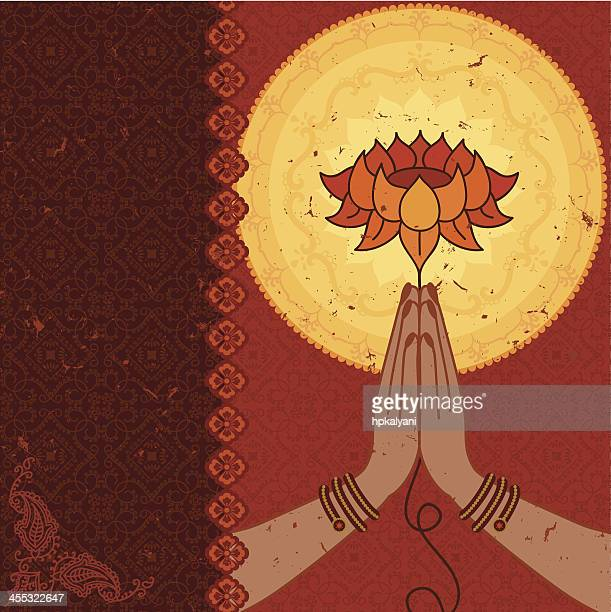dreamscape - namaste hands - lotus position stock illustrations, clip art, cartoons, & icons