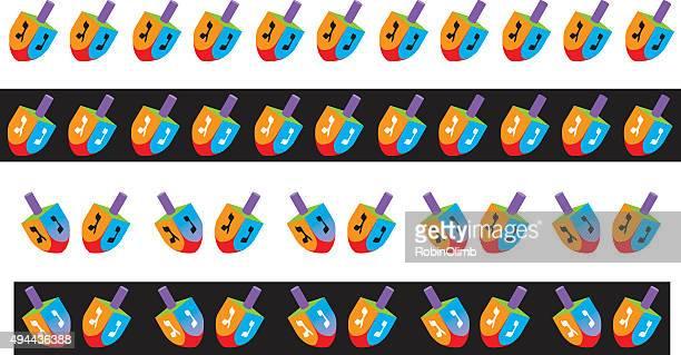 dreidel borders - hanukkah stock illustrations, clip art, cartoons, & icons