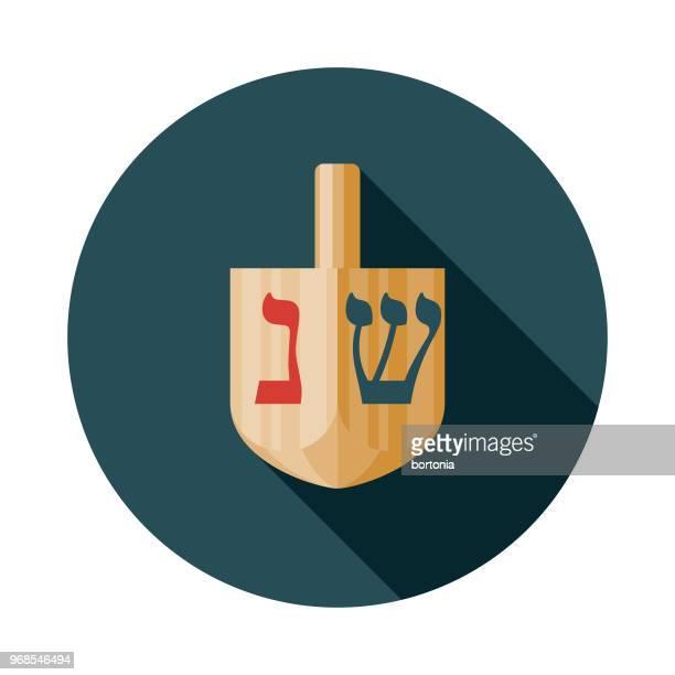 dreidel flat design hanukkah icon - dreidel stock illustrations, clip art, cartoons, & icons