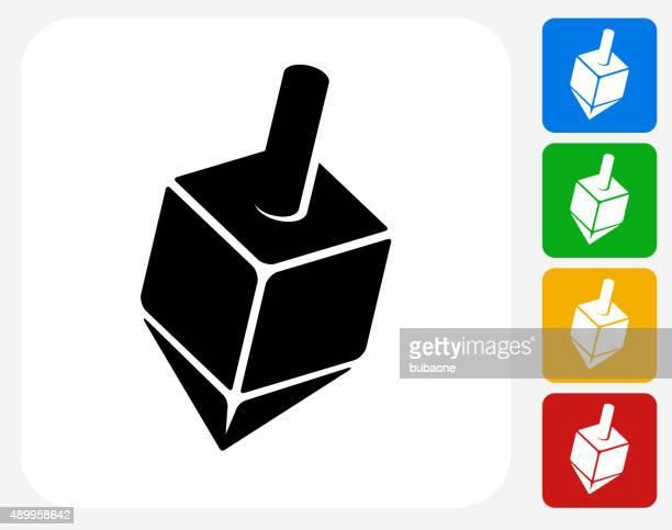 dreidel icon flat graphic design - dreidel stock illustrations, clip art, cartoons, & icons