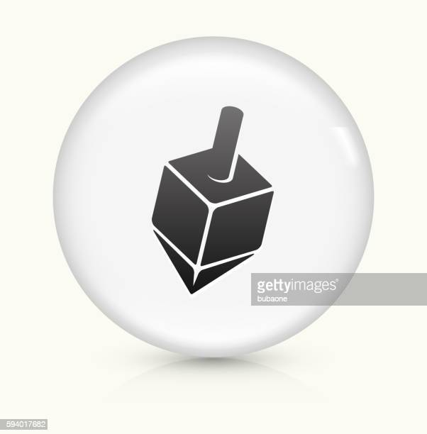 dreidel icon on white round vector button - hanukkah stock illustrations, clip art, cartoons, & icons