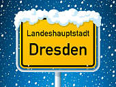 Dresden German City Road Sign Winter Snow
