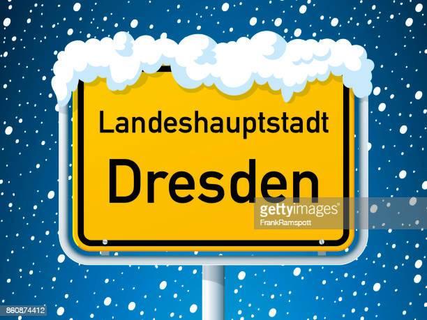 Dresden German City Road Sign Winter Snow
