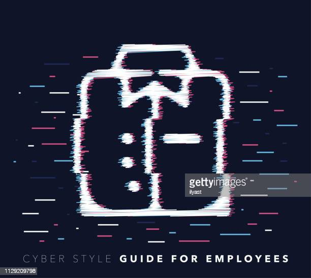 dress code glitch effect vector icon illustration - retail employee stock illustrations