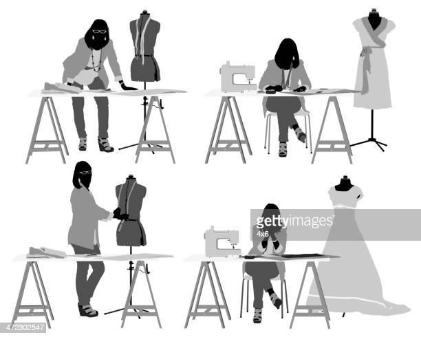 ドレスデザイナー彼女のスタジオで