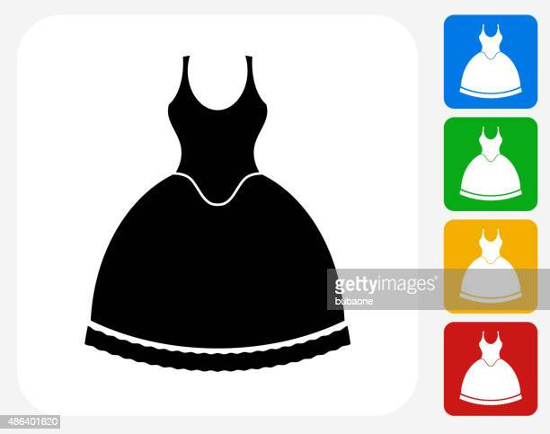 dress icon flat graphic design - evening gown stock illustrations