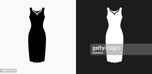 Dress Icon on Black and White Vector Backgrounds