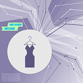 Dress Icon on purple abstract modern background. The lines in all directions. With room for your advertising. Vector