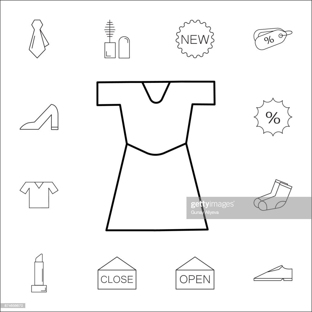 3d6defb70 dress icon. Set of Shopping element. Premium quality graphic design. Signs,  outline symbols collection, simple thin line icon for websites, web design,  ...