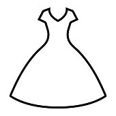 Dress line icon isolated on white background