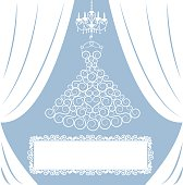 dress on hanger, white curtains, antique chandelier and frame