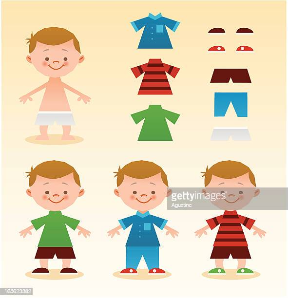 dress up kid - underwear stock illustrations, clip art, cartoons, & icons