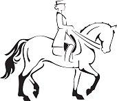 Dressage Horse & Rider Line Art