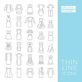 Dresses and clothes. Set with thin line icons