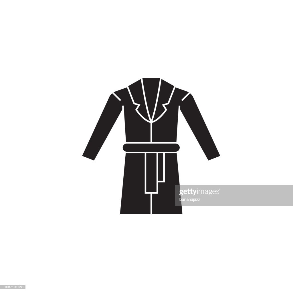 Dressing gown black vector concept icon. Dressing gown flat illustration, sign