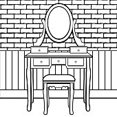 Dressing table with mirror, female boudoir for applying makeup, coloring, sketch, contour black and white drawing, vector illustration